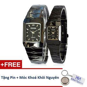 Picture of Đồng hồ đôi dây thép không gỉ Sinobi 91KN48 (Đen)