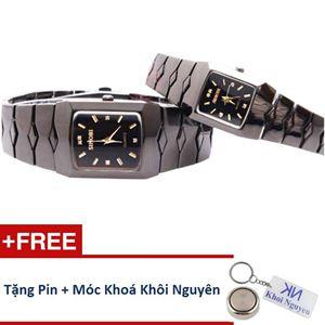 Picture of Đồng hồ đôi dây thép không gỉ Sinobi 91KN48 (Vạch Vàng)