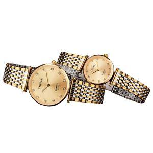Picture of Đồng hồ đôi dây thép không gỉ Chenxi 07KN2C (Mặt Vàng)
