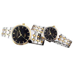 Picture of Đồng hồ đôi dây thép không gỉ Chenxi 05KN0B (Mặt Đen)
