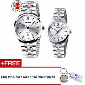 Picture of Đồng hồ đôi dây thép không gỉ Skmei 9KCN071 Trắng Xanh + Tặng pin nhật và móc khoá Khôi Nguyên