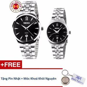 Picture of Đồng hồ đôi dây thép không gỉ Skmei 9KCN071 Trắng Đen + Tặng pin nhật và móc khoá Khôi Nguyên