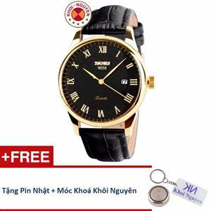 Picture of Đồng hồ nam dây da Skmei 90KCN58 + Tặng pin nhật và móc khoá Khôi Nguyên