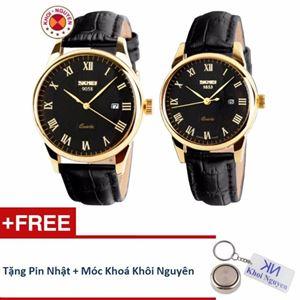 Picture of Đồng hồ đôi dây da Skmei 90KCN58 + Tặng pin nhật và móc khoá Khôi Nguyên