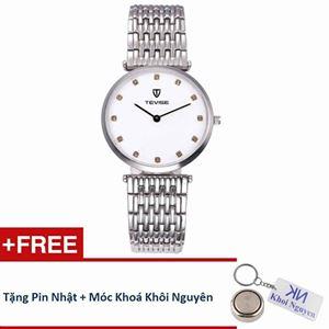 Picture of Đồng hồ nam dây thép không gỉ Tevise 80KCN01 (Trắng) + Tặng pin và móc khoá Khôi Nguyên