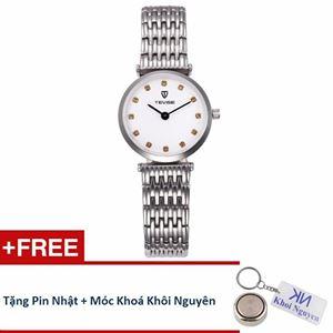 Picture of Đồng hồ nữ dây thép không gỉ Tevise 80KN01 (Trắng) + Tặng pin và móc khoá Khôi Nguyên