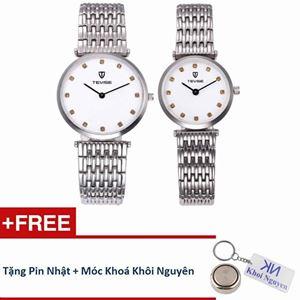 Picture of Đồng hồ đôi dây thép không gỉ Tevise 80KCN01 (Trắng) + Tặng pin và móc khoá Khôi Nguyên