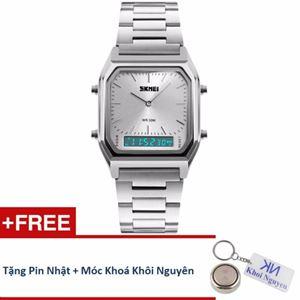 Picture of Đồng hồ nam dây thép không gỉ Skmei 12KCN20 (Trắng) + Tặng pin Nhật, móc khoá Khôi Nguyên