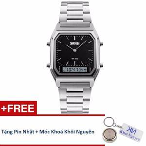 Picture of Đồng hồ nam dây thép không gỉ Skmei 12KCN20 (Đen) + Tặng pin Nhật, móc khoá Khôi Nguyên