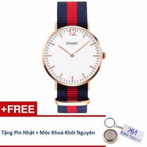 Picture of Đồng hồ nam dây vải Skmei 11KCN81 (Xanh phối đỏ) + Tặng pin Nhật, móc khoá Khôi Nguyên