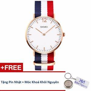 Picture of Đồng hồ nam dây vải Skmei 11KCN81 (Xanh phối trắng) + Tặng pin Nhật, móc khoá Khôi Nguyên