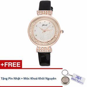 Picture of Đồng hồ nữ dây da Yili 70KCN13 (Đen) + Tặng pin Nhật, móc khoá Khôi Nguyên